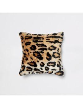 Leopard Print Faux Fur Cushion by River Island