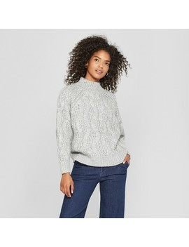 Women's Long Sleeve Turtleneck Cable Knit Sweater   Cliche Gray by Cliche