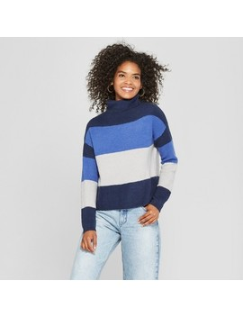 Women's Long Sleeve Striped Mockneck Color Block Sweater   Cliche by Cliche