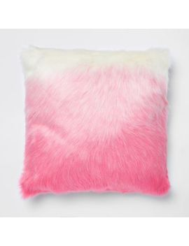 Pink Ombre Faux Fur Cushion by River Island