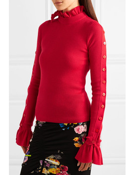 amanda-button-embellished-ruffled-ribbed-wool-sweater by preen-by-thornton-bregazzi