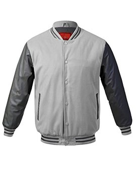Jd Apparel Men's Two Tone Premium Fabric Varsity Baseball Bomber Jacket by Jd Apparel
