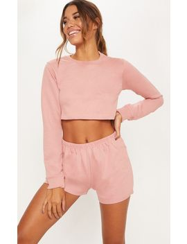Rose Cropped Sweat Pj Set by Prettylittlething