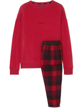 too-good-to-give-checked-fleece-pajama-set by dkny