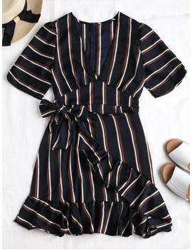 Back Zipper Striped Ruffles Mini Dress   Dark Slate Blue S by Zaful