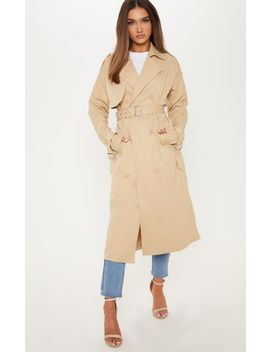 Stone Trench Coat  by Prettylittlething