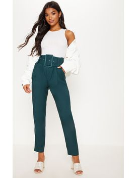 Emerald Green Super High Waisted Belted Tapered Trouser by Prettylittlething
