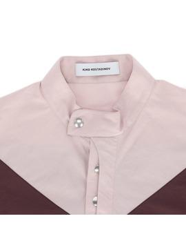 Charriere Shirt Maroon / Light Grey / Pink by Kiko Kostadinov