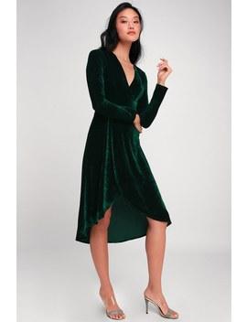 Silver Screen Emerald Green Velvet Long Sleeve Midi Dress by Lulus