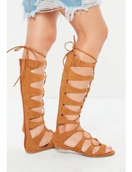 Tan Multi Strap High Leg Gladiator Sandals by Missguided