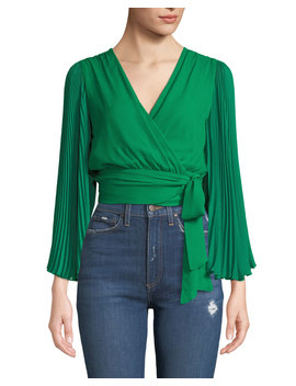 Bray Pleated Sleeve Wrap Top by Alice + Olivia