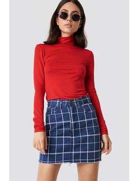 Denim Raw Hem Checkered Skirt by Lasula