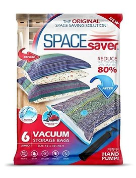 Space Saver Premium Reusable Vacuum Storage Bags (Jumbo 6 Pack), Save 80 Percents More Storage Space. Double Zip Seal & Leak Valve, Travel Hand Pump Included. (40 X 30 Inch / 100 X 80cm) by Space Saver