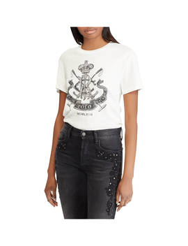Polo Ralph Lauren Collegiate Crest Jersey T Shirt, Nevis White by Ralph Lauren
