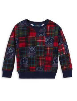 Little Girl's & Girl's Atlantic Terry Patchwork Sweatshirt by Ralph Lauren