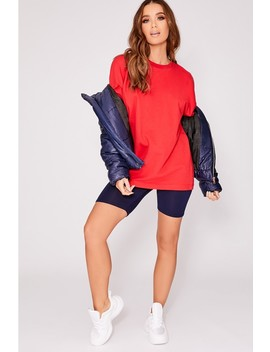 Lailia Red Colour Block Oversized Stripe Jumper by In The Style