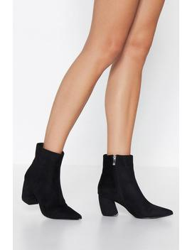 Curve Heel Faux Suede Pointed Bootie by Nasty Gal