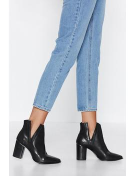 V Cut Out Leather Heeled Boots by Nasty Gal