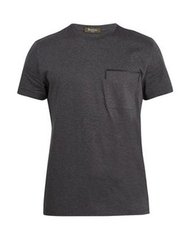 Crew Neck Leather Trimmed Cotton T Shirt by Berluti