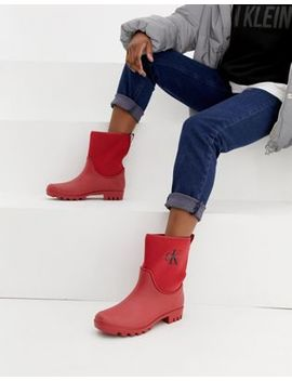 Calvin Klein Jeans Philippa Red Ankle Wellington Boots by Calvin Klein
