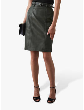 Reiss Kara Leather Pencil Skirt, Army Green by Reiss