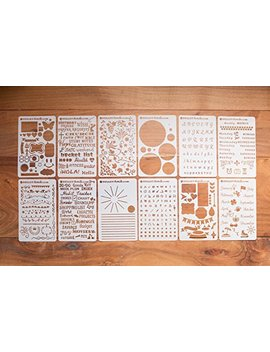 Bulle Tstencils Starter Set   Featuring 12 Journal Stencils: Includes Word Stencils, Circle Stencils, Drawing Stencils, Icons, Charts, Shapes, & Much More! by Bulle Tstencils