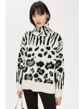 Zebra Mix Funnel Jumper by Topshop