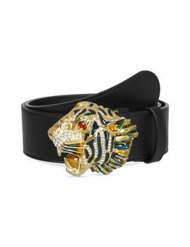 Crystal Tiger Head Leather Belt by Gucci