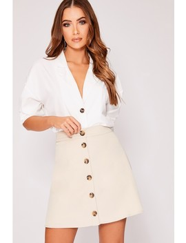 Ovee Stone Button Front A Line Mini Skirt by In The Style