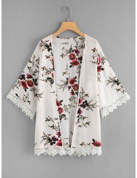 Crochet Trim Floral Print Kimono by Shein