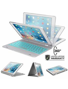 I Pad Keyboard Case I Pad 9.7 2018 (6th Gen)   I Pad 9.7 2017   I Pad Pro 9.7   I Pad Air 2 & 1 7 Color Backlight, 360 Rotatable, Slim & Light, Auto Sleep/Wake  I Pad Case Keyboard 9.7 Silver by Raydem