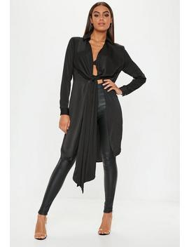 Black Satin Twist Front Longline Shirt by Missguided