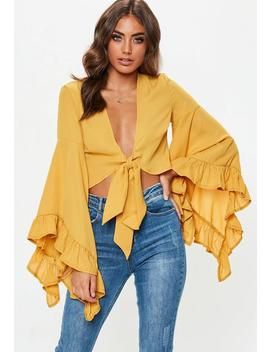 Mustard Extreme Flare Sleeve Tie Front Crop Top by Missguided