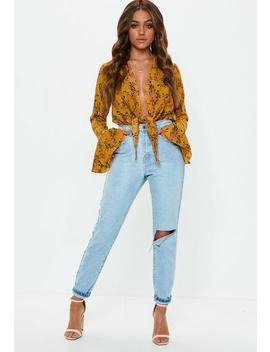 Yellow Flute Sleeve Knot Front Bodysuit by Missguided