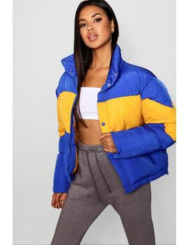 Colour Block Puffer Jacket by Boohoo