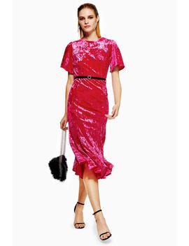 Velvet Belted Midi Dress by Topshop