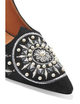 Embellished Embroidered Suede Pumps by Aquazzura