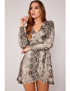 Dani Dyer Grey Snake Print Frill Wrap Dress by In The Style