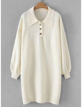 Drop Shoulder Solid Sweater Dress by Sheinside