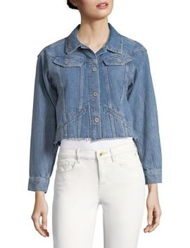 Torri Cropped Frayed Denim Jacket by Paige
