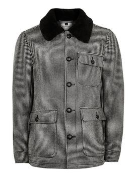 Houndstooth Borg Lined Jacket by Topman