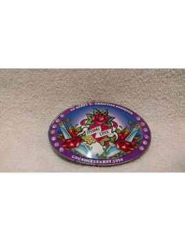 Ed Hardy Purple Enamel Rhinestones Red Rose Eternal Love Belt Buckle Excellent by Ed Hardy
