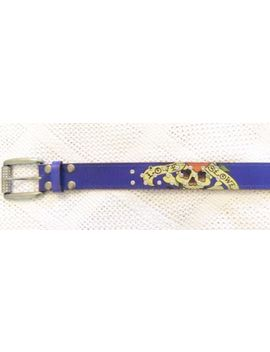 Ed Hardy Blue Belt Tattoo Skulls Studs Leather Wmns M Medium by Ed Hardy