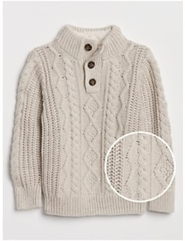 Cable Knit Mockneck Sweater by Gap