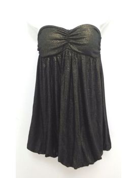 Papaya Dress Womens Junior Medium Strapless Shimmer Gold Black Bubble Prom B281 by Papaya