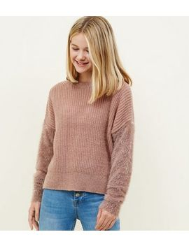 Girls Mid Pink Fluffy Sleeve Jumper by New Look