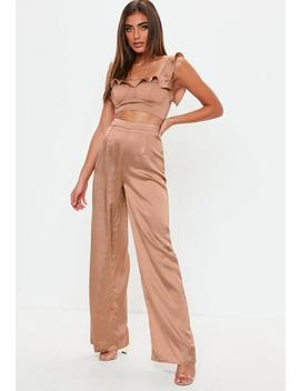 Bronze Satin Wide Leg Trousers by Missguided
