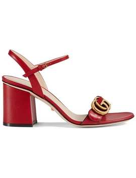 Leather Mid Heel Sandals by Gucci