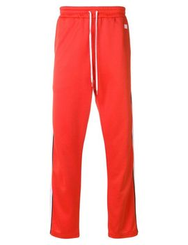 Men's Red Track Pants With Contrasted Bands by Ami