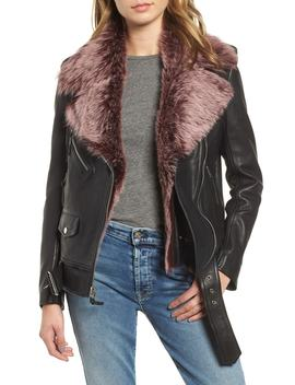 Leather Biker Jacket With Removable Genuine Shearling Trim by 7 For All Mankind®